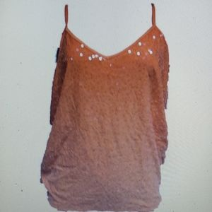 INC Sequin Blouse Cami Top New Orange Blossom